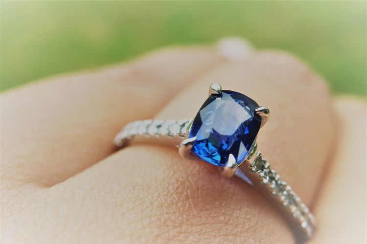 cathedral cushion blue sapphire engagement ring - Nolan and Vada