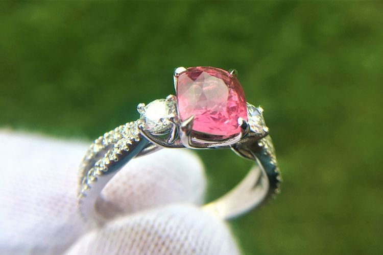 three stone split shank pink sapphire engagement ring - Nolan and Vada